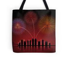 Fireworks over Cityscape Skyline Tote Bag