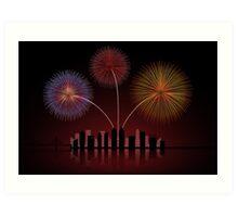 Fireworks over Cityscape Skyline Art Print