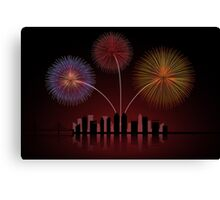 Fireworks over Cityscape Skyline Canvas Print