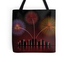 Fireworks over Cityscape Skyline Tote Bag