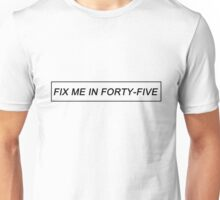 """Fix Me In Forty-Five"" (Black on Light) - Fall Out Boy - Thriller - Infinity On High Unisex T-Shirt"