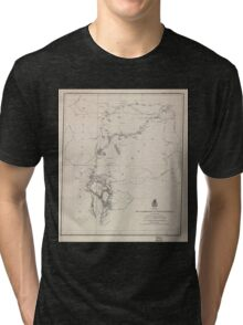 Civil War Maps 0645 Map of a reconnaissance of the Black Hills July and August 1874 with troops under command of Lt Col GA Custer 7th Cavalry Tri-blend T-Shirt