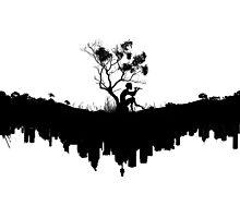 Urban Faun - Black on White Photographic Print