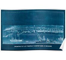 Civil War Maps 0357 Encampment of USt troops at Newport News Va 1861 1862 Inverted Poster