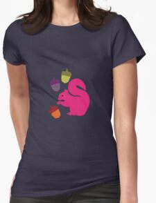 Big Pink Squirrel and Acorns Womens Fitted T-Shirt