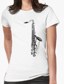 saxophone abstract Womens Fitted T-Shirt