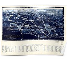 Civil War Maps 0027 Aero view of Chickamauga and Chattanooga National Military Park looking east Poster