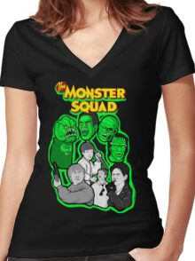 monster squad character collage Women's Fitted V-Neck T-Shirt