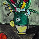 Green Vase Of Flowers(after Cezanne) by RobynLee