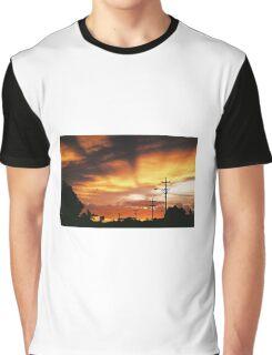 Firey Sunset Streetscape Graphic T-Shirt