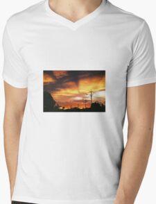 Firey Sunset Streetscape Mens V-Neck T-Shirt