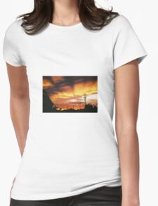 Firey Sunset Streetscape Womens Fitted T-Shirt