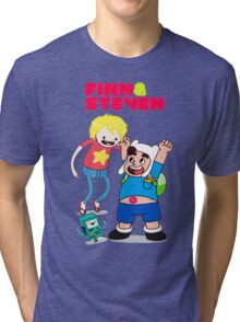 Adventure TIme Finn and Steven Universe Tri-blend T-Shirt