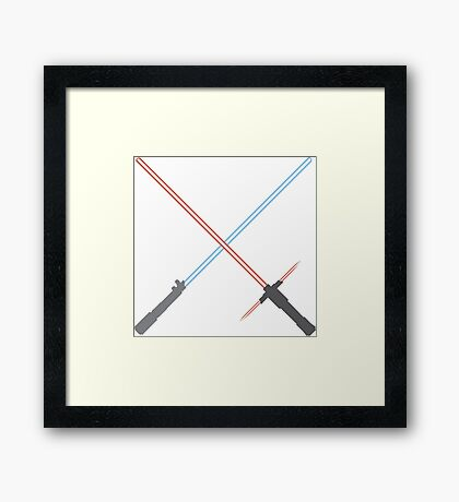 Kylo Ren and Rey Lightsabers Framed Print