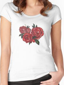 Graffiti Tees-4- ROSES! Women's Fitted Scoop T-Shirt