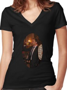 barney getting wasted  Women's Fitted V-Neck T-Shirt