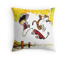 Playing on Garden Calvin and Hobbes Throw Pillow