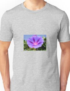 Purple Colored Morning Glory Flower Garden Background  Unisex T-Shirt
