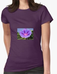 Purple Colored Morning Glory Flower Garden Background  T-Shirt
