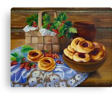 Still Life with pies Canvas Print