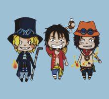 Ace Luffy Sabo chibi by rainbowcho