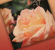 Hybrid Tea Rose Peach Vintage Texture Ornamental Pattern by Beverly Claire Kaiya