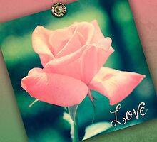 Hybrid Tea Rose Pink Red Vintage Texture Ornamental Pattern by Beverly Claire Kaiya