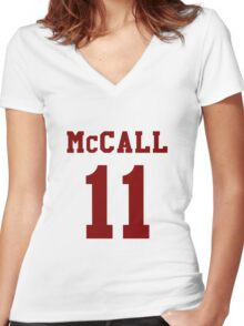 Mccall 11 Scot mccall Beacon Hills lacrosse - maroon ink Women's Fitted V-Neck T-Shirt
