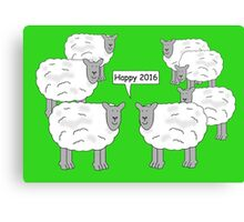 Sheep standing in a field with one of them saying, 'Happy 2016'. Canvas Print