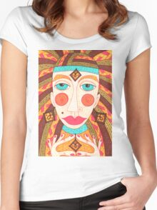 Mysterious fortuneteller gipsy woman Women's Fitted Scoop T-Shirt