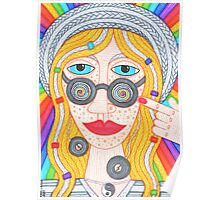 Hippie girl in hat and rainbow Poster