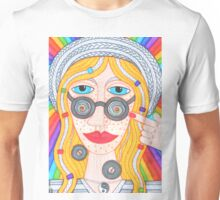 Hippie girl in hat and rainbow Unisex T-Shirt