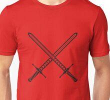 Crossed Sword Tattoo Design - Black on Red Unisex T-Shirt