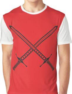 Crossed Sword Tattoo Design - Black on Red Graphic T-Shirt