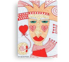 Mysterious person with heart balloon Canvas Print