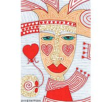 Mysterious person with heart balloon Photographic Print