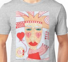 Mysterious person with heart balloon Unisex T-Shirt