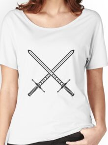 Crossed Swords Tattoo Design - Black Women's Relaxed Fit T-Shirt
