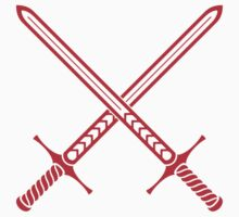 Crossed Swords Tattoo Design - Red One Piece - Short Sleeve