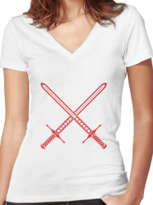 Crossed Swords Tattoo Design - Red Women's Fitted V-Neck T-Shirt