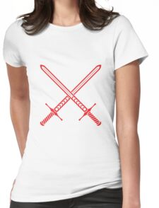 Crossed Swords Tattoo Design - Red Womens Fitted T-Shirt