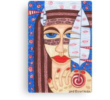 Native American Indian girl with falcon feather Canvas Print