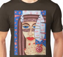 Native American Indian girl with falcon feather Unisex T-Shirt