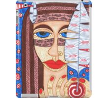 Native American Indian girl with falcon feather iPad Case/Skin