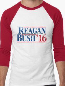 Distressed Reagan - Bush '16 Men's Baseball ¾ T-Shirt