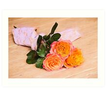 Country Time Orange Roses Art Print