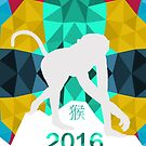 Chinese New Year Year Of The Monkey Abstract Geometric Pattern by Moonlake