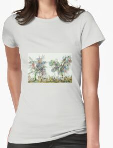 Colorful winter scene Womens Fitted T-Shirt