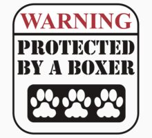 Warning Protected By A Boxer Baby Tee