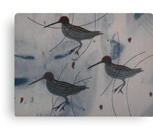 Three Abstract Woodcock - Print of Embroidered Textile Canvas Print